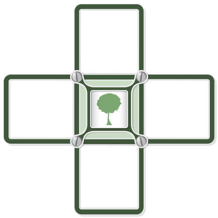 broad leaf: Four blank text areas and tree symbol