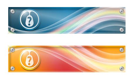 glass panel: Set of two banners with colored rainbow and glass panel