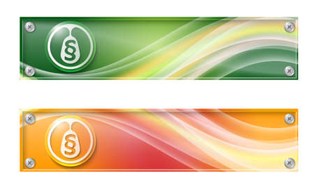 jury box: Set of two banners with colored rainbow and glass panel
