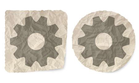 crumpled: Crumpled slip of paper and a cogwheells Illustration