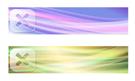 multiplication: Set of two banners with waves and transparent multiplication symbol