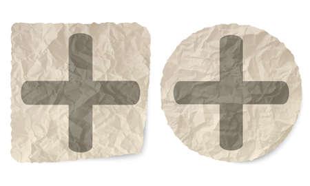 plus symbol: Crumpled slip of paper and a plus symbol