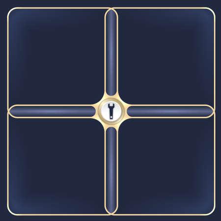 golden frames: Four connected golden frames for your white text and spanner Illustration
