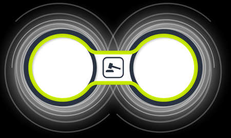 jury box: Two colored circular frames for your text and lawyer symbol