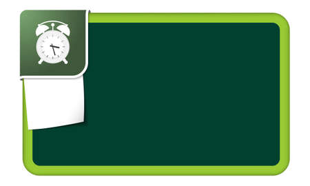 corner clock: Abstract frame for your text with green corner and alarm clock