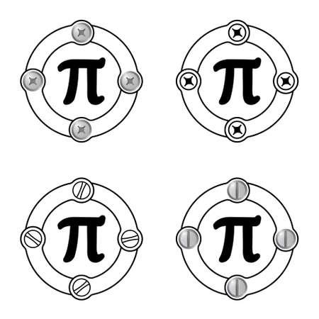 pi: Set of four flat frames and pi symbol Illustration