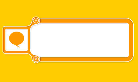 text bubble: Yellow box with white frame for your text and speech bubble