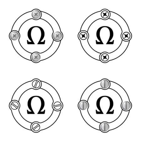 alphabet greek symbols: Set of four flat frames and omega symbol Illustration