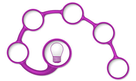 text boxes: Purple circular text boxes for your text and bulb