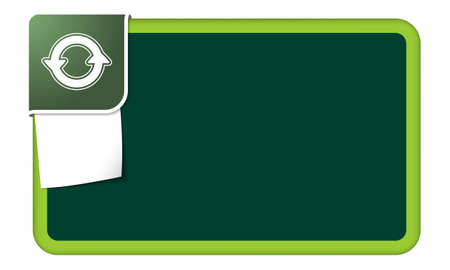 feedback label: Abstract frame for your text with green corner and arrows Illustration