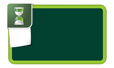 sand glass: Abstract frame for your text with green corner and sand glass