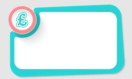 libra esterlina: c�rculo rosa y s�mbolo de la libra esterlina y el marco verde para el texto