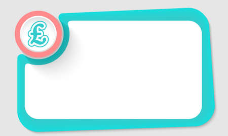 pound sterling: Pink circle and pound sterling symbol and green frame for your text