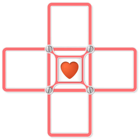 office romance: Four blank text frames for your text and heart symbol