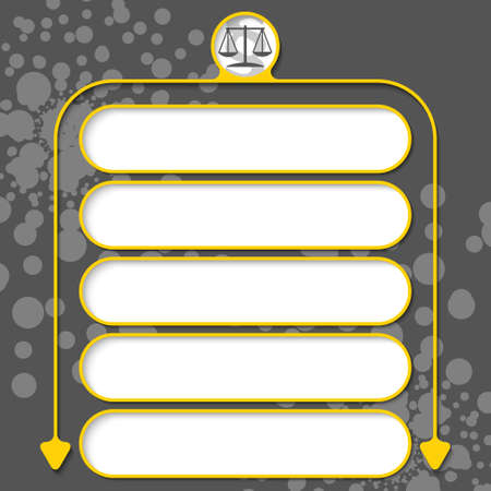 statute: Five frames for your text and lawyer symbol