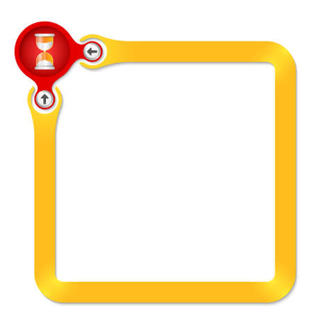 sand glass: Red circle with sand glass with yellow frame for your text