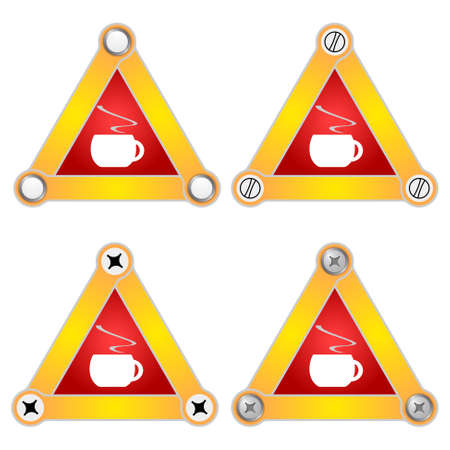cup four: Set of four flat simple triangles with screws and cup of coffee Illustration