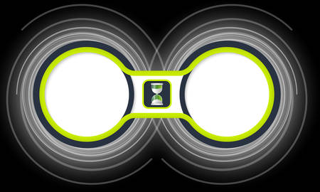 sand glass: Two colored circular frames for your text and sand glass