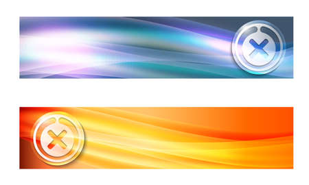 multiplication: Set of two banners with waves and multiplication symbol Illustration