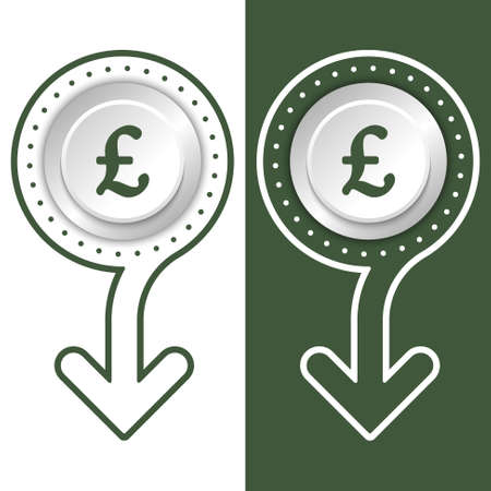 libra esterlina: Plano simple extracto flecha y la libra esterlina símbolo