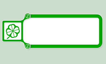 cloverleaf: Green box with white frame for your text and cloverleaf Illustration