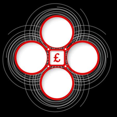 libra esterlina: Cuatro marcos circulares de colores para el símbolo de texto y la libra esterlina