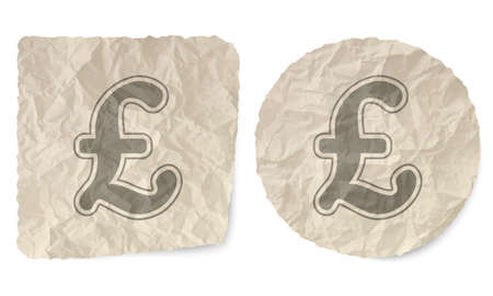 sterling: Crumpled slip of paper and a pound sterling symbol Illustration
