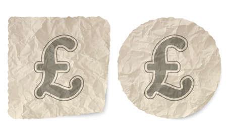 libra esterlina: deslizamiento arrugado de papel y un símbolo de la libra esterlina Vectores
