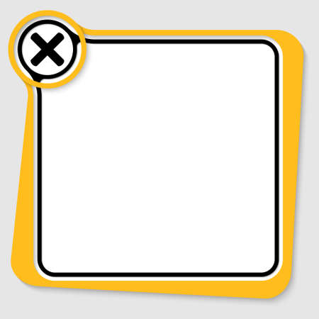 multiplication: Yellow text box for your text with multiplication symbol Illustration