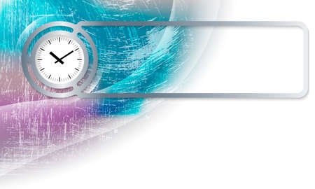 corner clock: Abstract background in the corner and Vector frame with clock Illustration