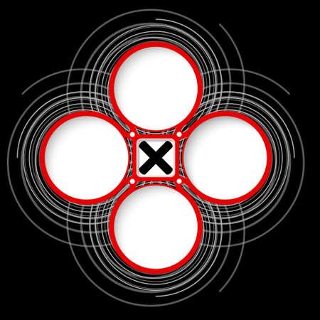 multiplicacion: Cuatro marcos circulares de colores para el texto y la multiplicaci�n s�mbolo Vectores