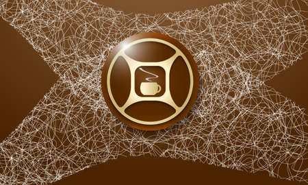 intermission: Brown background with abstract cobweb and cup of coffee Illustration