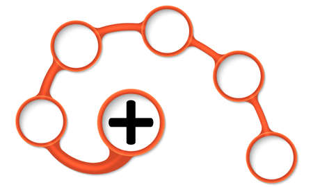 plus symbol: Brown circular text boxes for your text and plus symbol Illustration