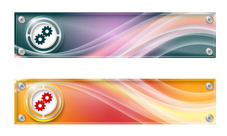 sprockets: Set of two banners with colored rainbow and cogwheels Illustration
