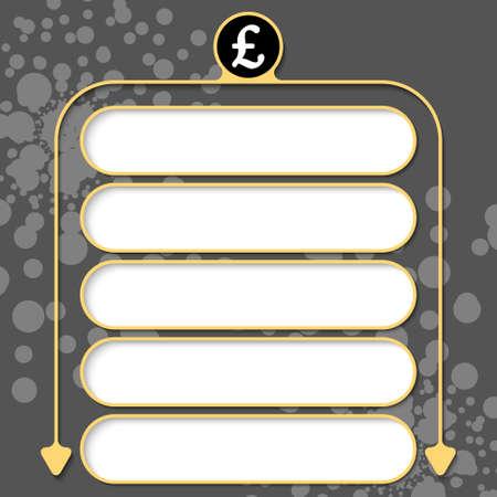 pound sterling: Cinco marcos para el símbolo de texto y la libra esterlina Vectores