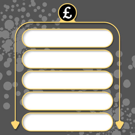 pound sterling: Five frames for your text and pound sterling symbol