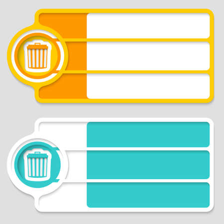 trashcan: Colored boxes for your text and trashcan Illustration