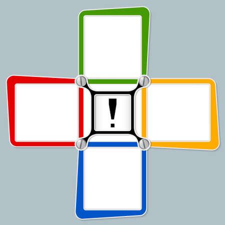 signo de admiracion: Cuatro marcos de texto en blanco para su texto y signo de exclamaci�n Vectores