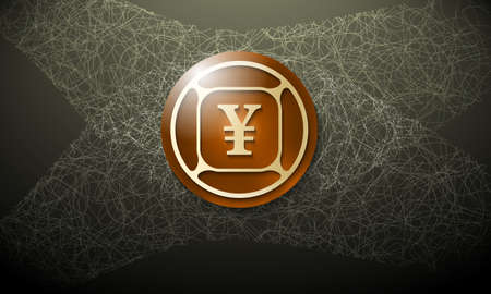 cobweb: Brown background with abstract cobweb and yen symbol
