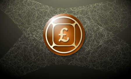 libra esterlina: Fondo de Brown con la telaraña abstracta y símbolo de la libra esterlina Vectores