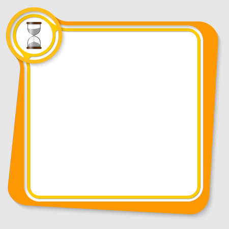 sand glass: Yellow text box for your text with sand glass Illustration