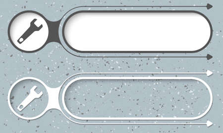 Two abstract buttons with arrows and spanner Illustration