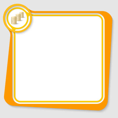 coin box: Yellow text box for your text with golden coin