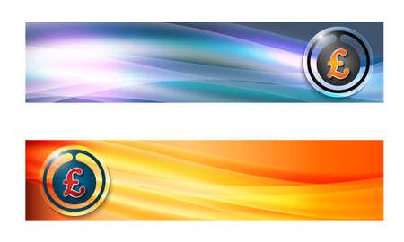 sterling: Insieme di due bandiere con le onde e il simbolo di sterlina