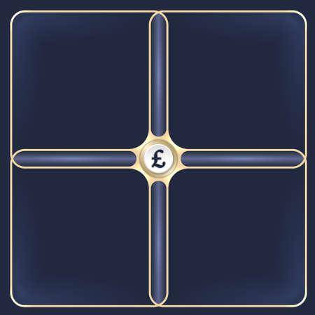 libra esterlina: Cuatro marcos de oro conectados para el texto y la libra esterlina s�mbolo blanco