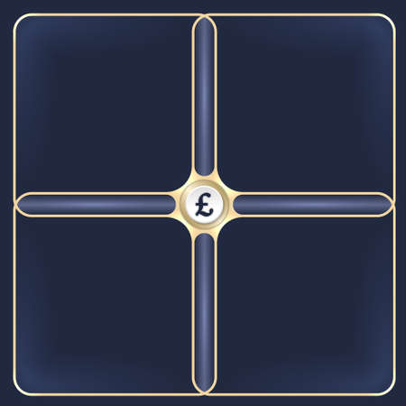 golden frames: Four connected golden frames for your white text and pound sterling symbol