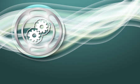 sprockets: Vector abstract background with waves and cogwheels