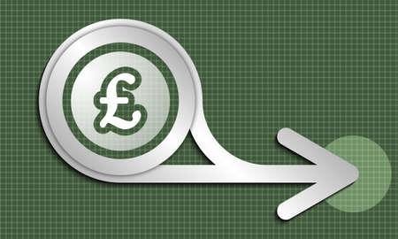 pound sterling: extracto flecha de plata y el símbolo de la libra esterlina