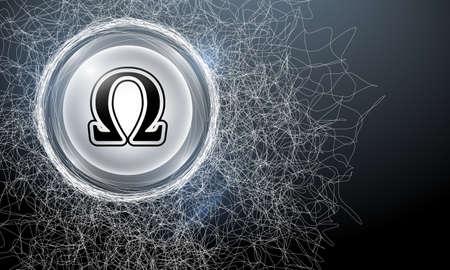 cobweb: Vector abstract background with cobweb and omega symbol