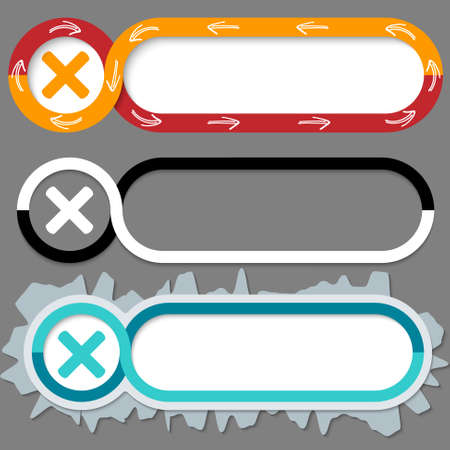 multiplication: Set of three abstract buttons for your text and multiplication symbol